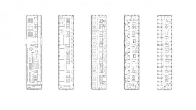 Floor plans, from left to right: Ground floor (Conference Center, Restaurant), 1st floor (Offices, Daycare, Restaurant Staff), 4th floor (Office floor), 7th floor (Palliativ Care Facility), 9th floor (Hotel).